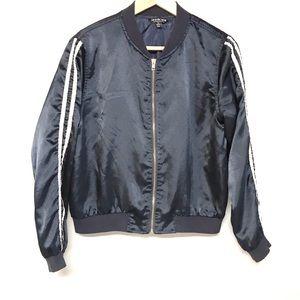 Fashion Nova navy blue Zip front bomber jacket M